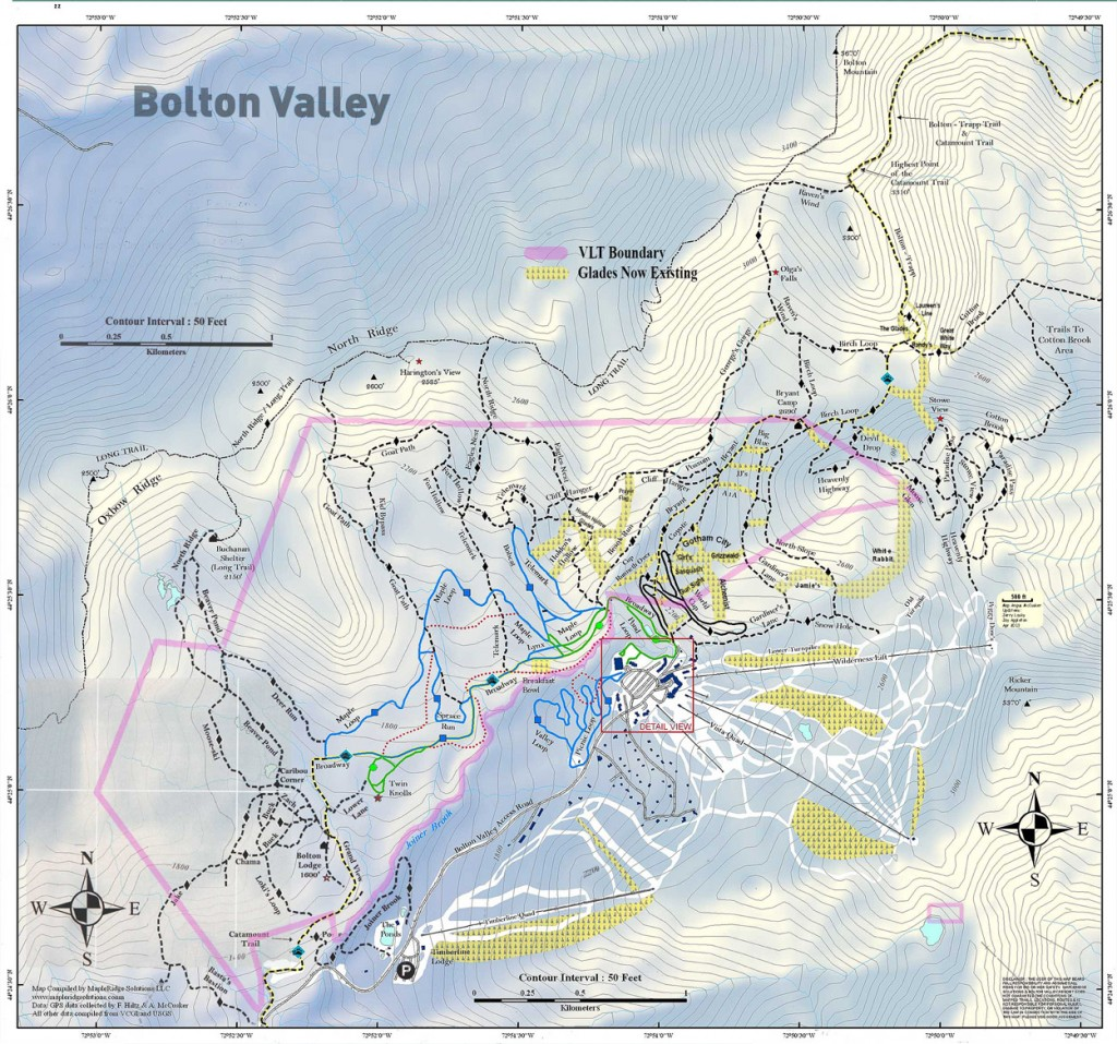A map of the Bolton Valley Nordic and Backcountry Network for the 2013-2014 ski season