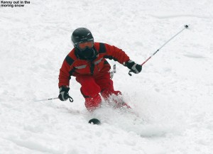 An image of Kenny skiing soft snow on the Lower tyro trail at Stowe Mountain Resort in Vermont