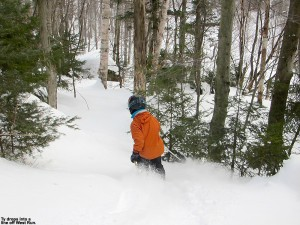 An image of Ty skiing powder in the trees near the West Run trail at Stowe Mountain Resort in Vermont