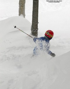 An image of Dylan skiing powder on Dynamite at Bolton Valley Resort in Vermont