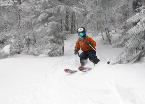 An image of Ty skiing Dynamite run at Bolton Valley Resort in Vermont