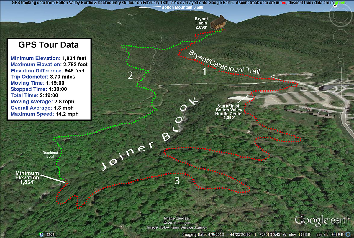 An image of a Google Earth map with GPS tracking data for a ski tour on February 16th, 2014 at Bolton Valley Ski Resort in Vermont