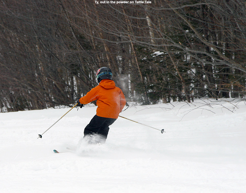 An image of Ty skiing in the powder on the Spell Binder trail at Bolton Valley Resort in Vermont