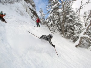 An image of Luc dropping into some deep snow in the Kitchen Wall area at Stowe Mountain Ski Resort in Vermont