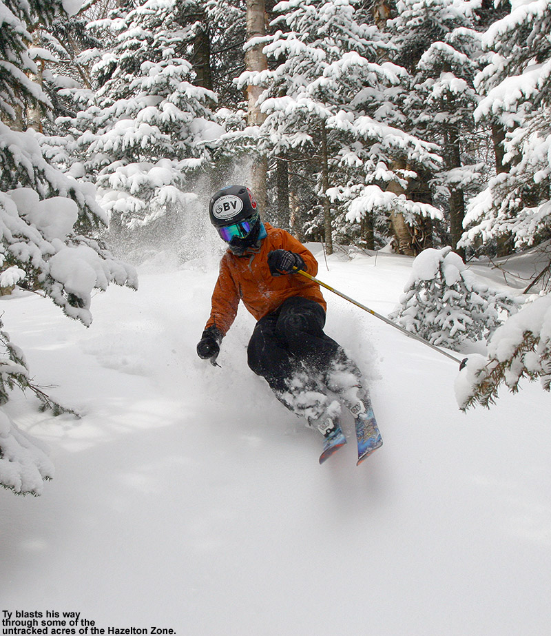 An iamge of Ty skiing some powder snow in the Hazelton area of Mt. Mansfield at Stowe Mountain Resort in Vermont