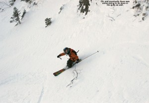 An image of Ty skiing the Cliff Trail Gully on Mt. Mansfield above Stowe Mountain Resort in Vermont