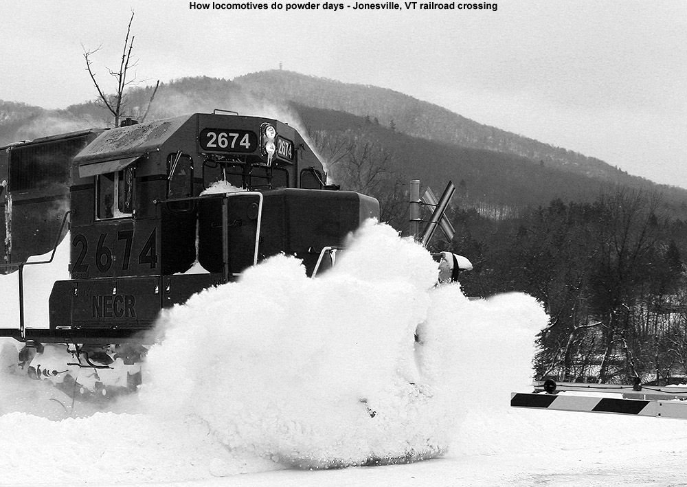 An image of a locomotive hitting the snow at the Jonesville railroad crossing in Vermont