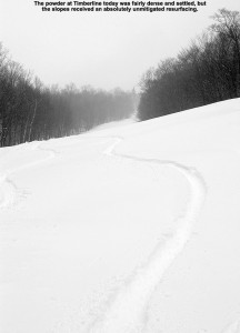 An image of ski tracks in powder snow on the Twice as Nice trail at Bolton Valley Ski Resort in Vermont