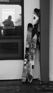 An image of fat skis outside the Bolton Valley Village Deli and Grocery at Bolton Valley Ski Resort in Vermont