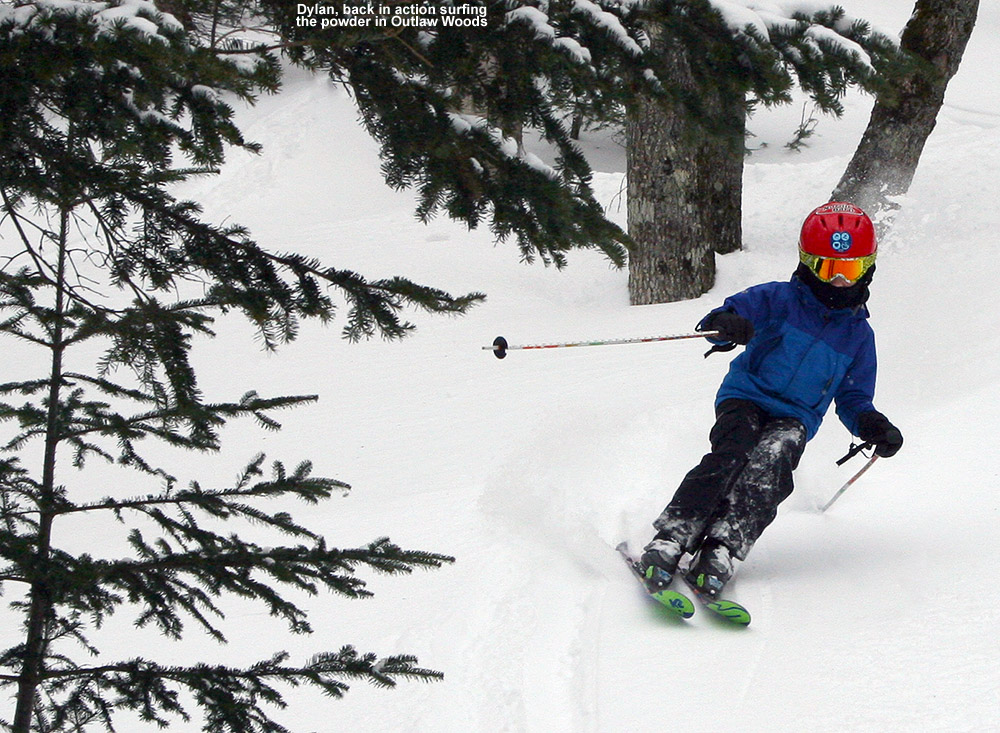 An image of Dylan skiing in the Outlaw Woods area of Bolton Valley Resort in Vermont