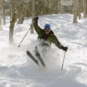 An image of Ken skiing Angel Food at Stowe Mountain Resort in Vermont