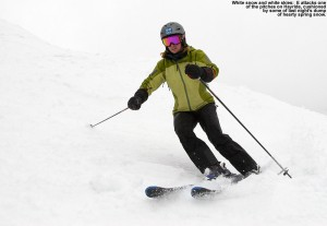 An image of Erica skiing the Hayride trail at Stowe Mountain Resort in Vermont