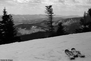 An image from the Octagon building at the top of Stowe Mountain Ski Resort in Vermont - looking southward at a ski slope and some of the Green Mountains