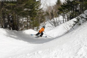 An image of Ty skiing the Nosedive Bypass Chutes at Stowe Mountain Resort in Vermont