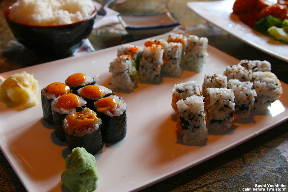 An image of some sushi rolls on a platter at the Sushi Yoshi restaurant in Stowe, Vermont