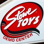 An image of the Stowe Toys Demo Center Sign at Stowe Mountain Resort in Vermont