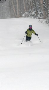 An image of Erica skiing the Duck Walk trail at Stowe Mountain Resort in Vermont