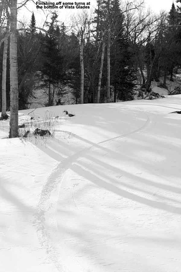 An image of a ski track in the bottom of the Vista Glades area at Bolton Valley Ski Resort in Vermont