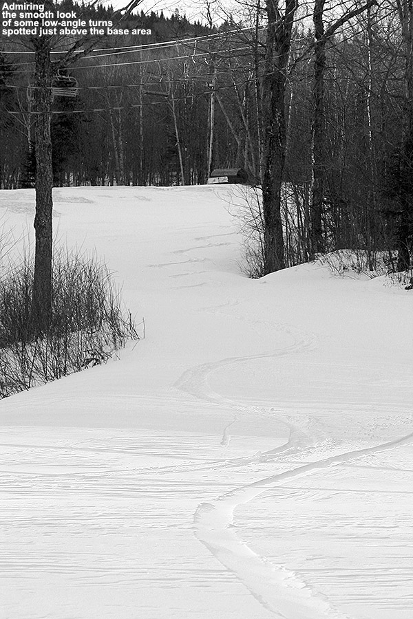 An image of a ski track in the Jungle Jib terrain park at Bolton Valley Ski Resort in Vermont
