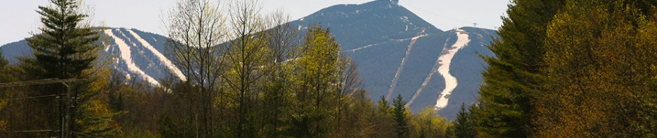 An image of the snow on the slopes of Jay Peak Ski Resort in Vermont as viewed in May from the Village of Jay