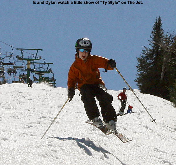 An image of Ty jumping on skis on The Jet trail at Jay Peak Resort in Vermont