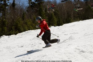 An image of Erica Telemark skiing on the Jet trail at Jay Peak ski resort in Vermont on Mother's Day