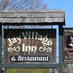 An image of the sign for the Jay Village Inn and Restaurant in Jay, Vermont