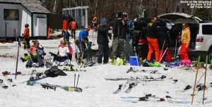An image of tailgating skiers at the base of the Jet Triple Chair at Jay Peak Ski Resort in Vermont on Mother's Day 2014
