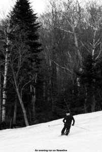An image of Jay skiing the Nosedive trail at Stowe Mountain Resort in Vermont over Memorial Day Weekend