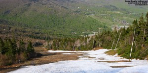 An image of some leftover snow on the Nosedive ski trail at Stowe Mountain Resort in Vermont over Memorial Day Weekend