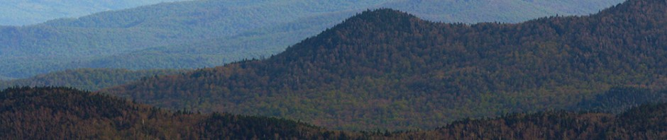An image showing part of the Green Mountains in Vermont looking southward from Stowe Mountain Ski Resort