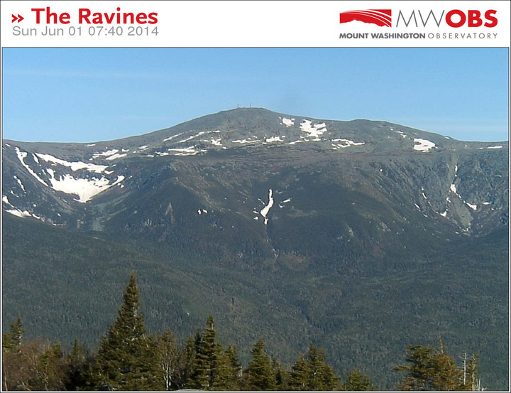 An image from the Ravines Cam showing the snowfields on Mt. Washington in New Hampshire on June 1st, 2014