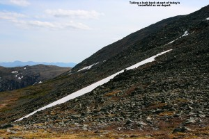 An image of a snowfield below the Ball Crag area of Mt. Washington in New Hampshire on June 1st, 2014