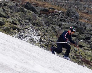 An image of Jay skiing the snowfields of Mt Washington in New Hampshire in June