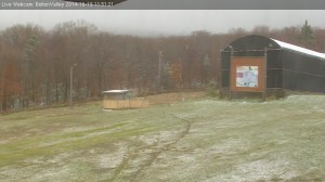 An image of October snow on the Bolton Valley Web Cam