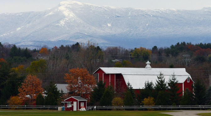 Enjoying the white view of Mt. Mansfield this afternoon from Essex Junction in the Champlain Valley
