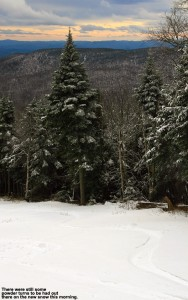 An image of ski tracks in powder at Stowe Mountain Resort in Vermont after a November snowfall
