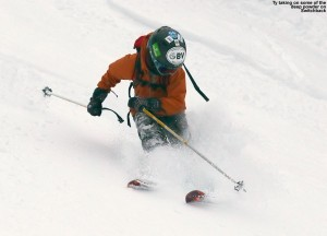 An image of Ty skiing powder on the Switchback trail at Stowe Mountain Resort in Vermont