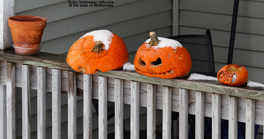 An image of old Jack-o'-lanterns near the base of the Wilderness ski lift at Bolton Valley Ski Resort in Vermont in November