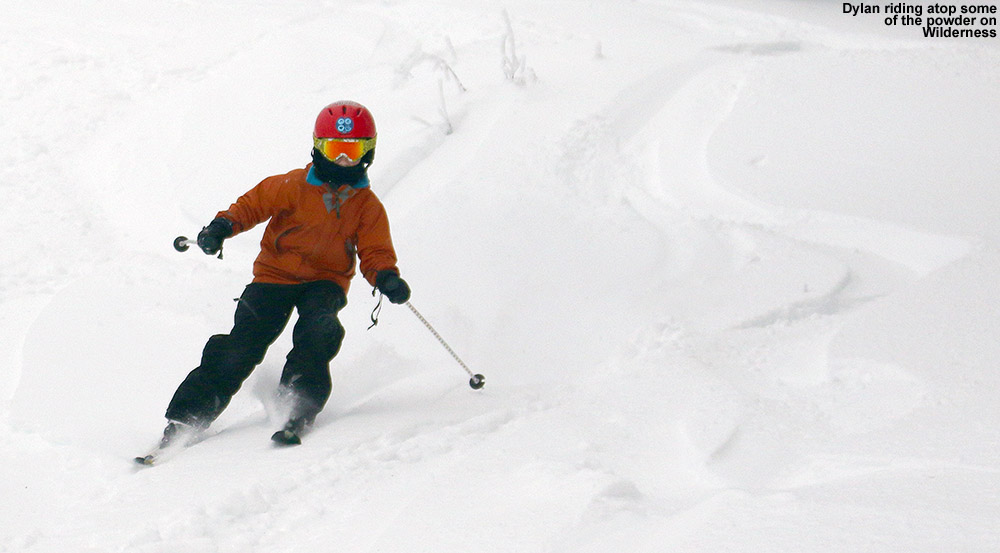 An image of Dylan skiing powder in the Wilderness are of Bolton Valley Ski Resort in Vermont