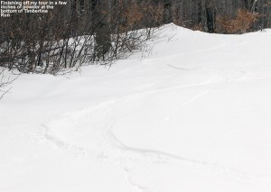 An image of ski tracks in powder on the Timberline Run trail at Bolton Valley Ski Resort in Vermont