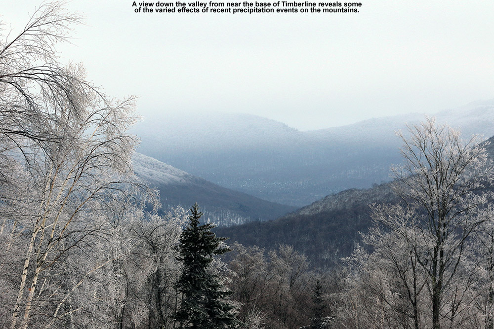 An image looking down toward the Winooski Valley from the Timberline area of Bolton Valley Ski Resort in Vermont