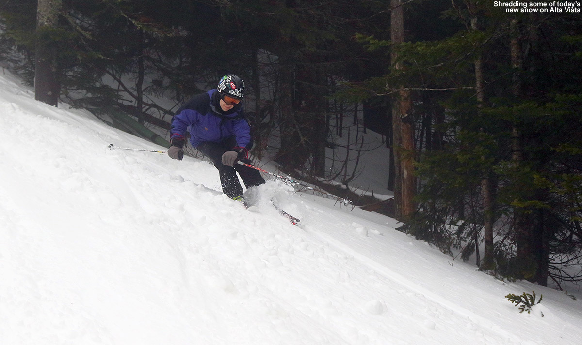 An image of Jay skiing some dense powder on the Alta Vista trail at Bolton Valley Ski Resort in Vermont