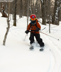 An image of Dylan skiing in some powder snow out in the Vermont backcountry in Big Jay Basin
