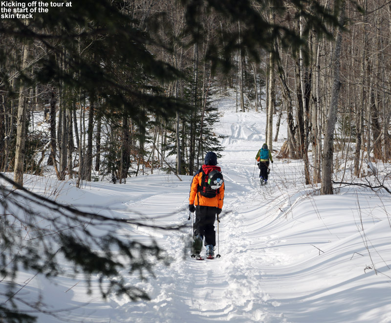 An image of Dylan, Erica, and Ty on a skin track heading up toward Big Jay Basin in Vermont at the start of a backcountry ski tour