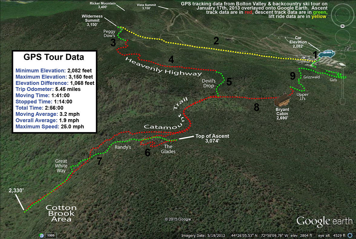 A Google Earth image showing GPS tracking data from a backcountry ski tour in the Bolton Valley backcountry in Vermont