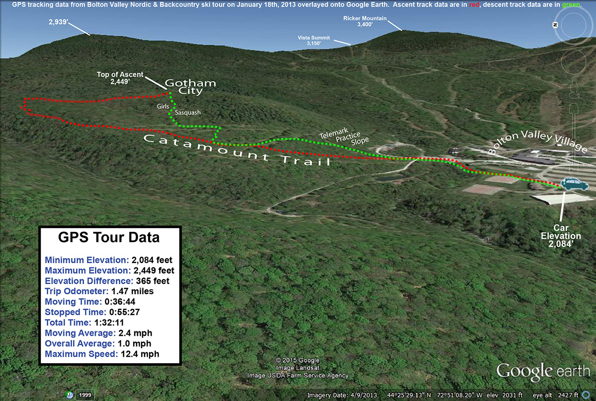 A map of a ski tour on the Bolton Valley Nordic and Backcountry ski network in Vermont