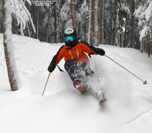 An image of Ty skiing in the glades at Bolton Valley Ski Resort in Vermont