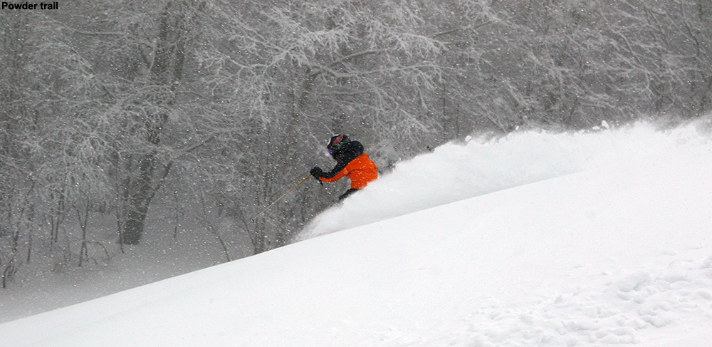 An image of Ty send up a tail of snow flying into the air as he skis powder snow on the Tattle Tale trail at Bolton Valley Ski Resort in Vermont