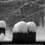 An image of fresh snow on some railing posts outside the cafeteria at the Mansfield Base Lodge at Stowe Mountain Resort in Vermont